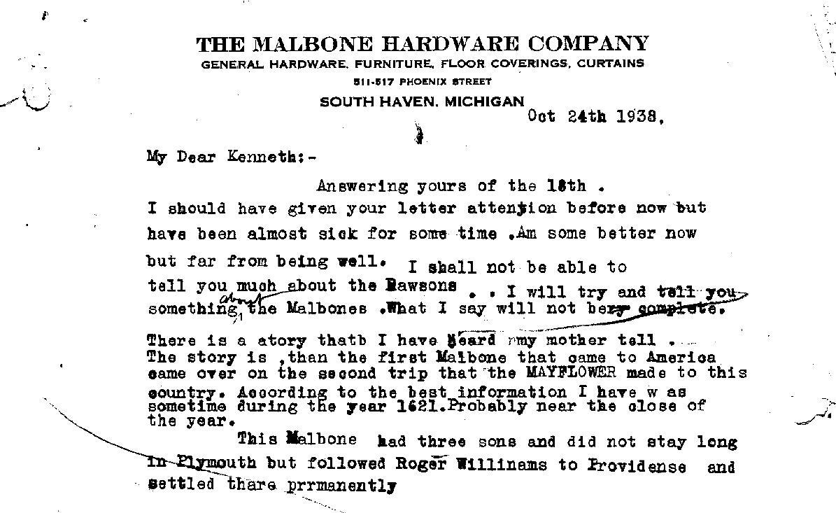 Letters, John Solomon Malbone, 24 Oct 1938